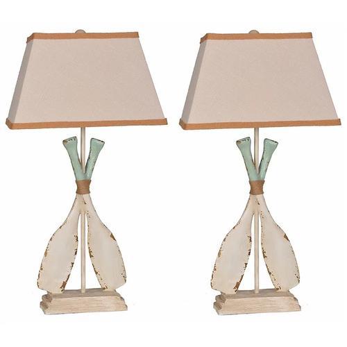 Lamps Per Se - Whitewash Oar Lamp (2/CN)