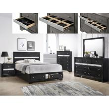 CrownMark 4 Pc Queen Bedroom Set, Regata Black B1841