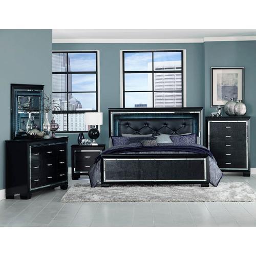 Allura- Black Qn Bed, Dresser, Mirror and Nightstand