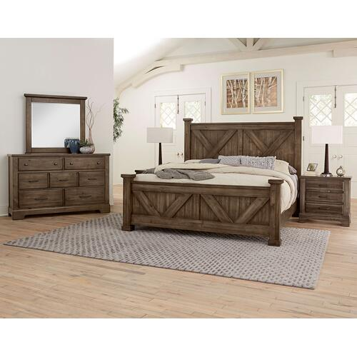 Vaughan-Bassett - Cool Rustic Stone Gray X Bed