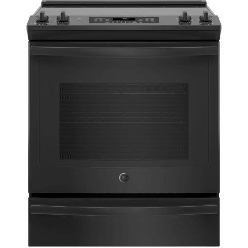 GE 5.3CF Black Slide In Convection Range with Steam/Self Clean