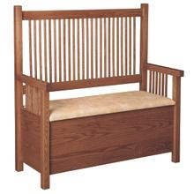See Details - Mission Deacon's Bench With Sand Bonded Leather