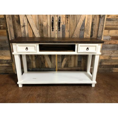RUSTIC IMPORTS MO-CID153 Rustic Antique White Sofa Table with 2 Drawers