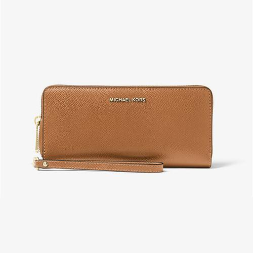 Michael Kors Jet Set Travel Leather Continental Wristlet - Acorn - 32S5GTVE9L-203