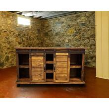 "Rustic 60"" Honey Console w/ Siding Barn Doors"