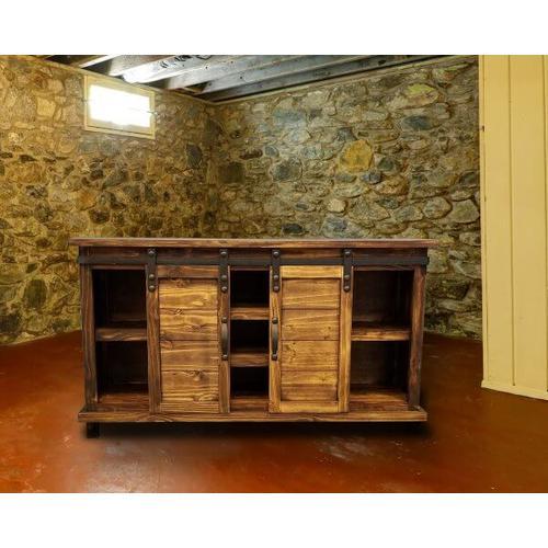 "Rustic 60"" Honey Console w/ Siding Barn Doors"