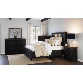Madison County 5 PC King Barn Door Bedroom: Bed, Dresser, Mirror, Nightstand, Chest - Vintage Black