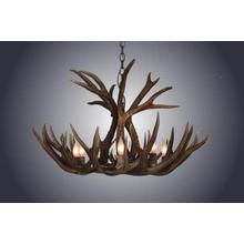 REAL 8 Light Mule Deer Antler Chandelier
