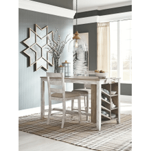Skempton - White/Light Brown - 3 Pc. - Rectangular Counter Table with Storage & 2 Upholstered Barstools