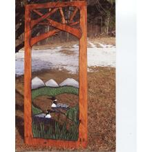 See Details - Handmade rustic wooden screen door featuring loons on a lake.