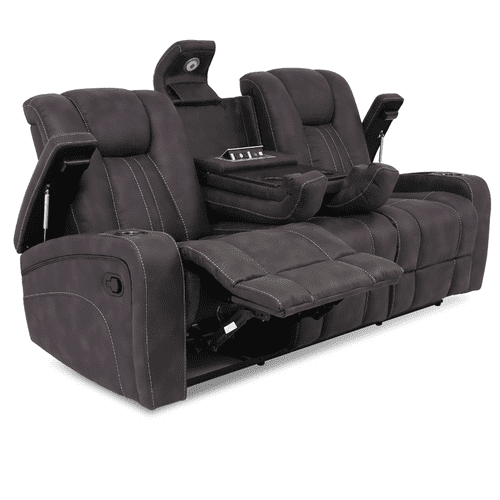 Cheers - Aviator Granite Reclining Sofa with Drop Down Table