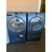 Refurbished Samsung Blue Front Load Washer Dryer Set on pedestals. Please call store if you would like additional pictures. This set carries our 6 month warranty, MANUFACTURER WARRANTY AND REBATES ARE NOT VALID (Sold only as a set)