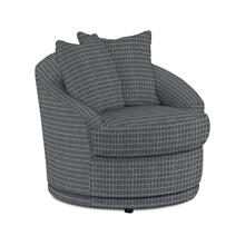 See Details - ALANNA Swivel Barrel Chair in Charcoal Fabric