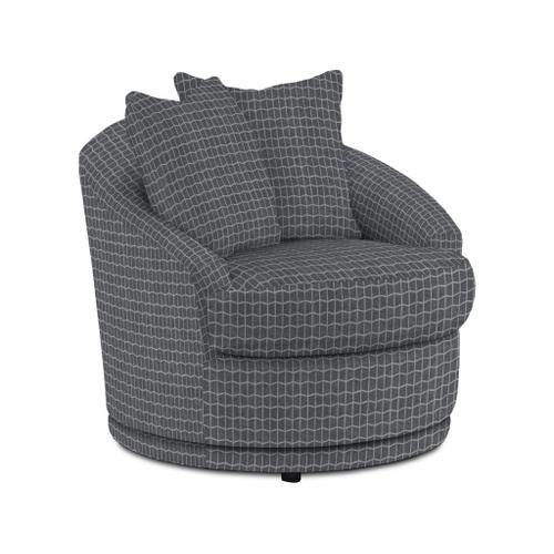 ALANNA Swivel Barrel Chair in Charcoal Fabric