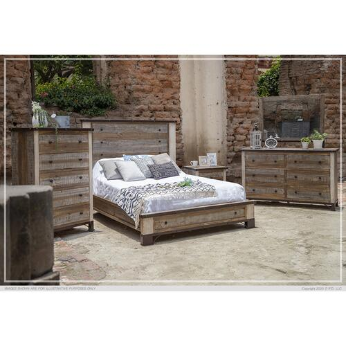 International Furniture Direct - Antique Queen Platform Bed