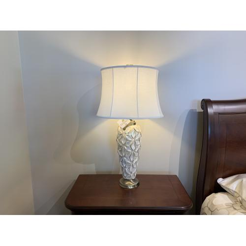White Glazed Floral Table Lamp