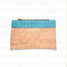 BICOLOR PURSE BEIGE WITH TURQUOISE PATTERN
