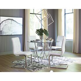 Madanere Table Chrome Finish W/ 4 White Chairs