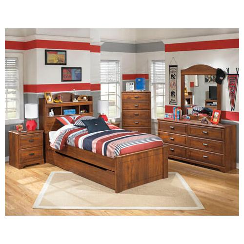 Barchan- Medium Brown- Dresser, Mirror, Chest, Nightstand & Twin Bookcase Bed with Trundle