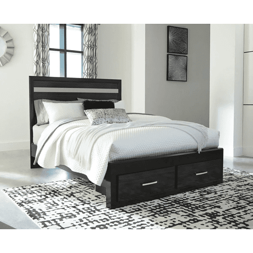 Starberry- Black- Queen Panel Bed with 2 Storage Drawers