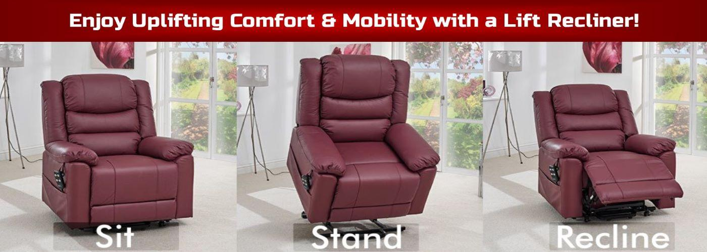 Lift chairs are powered recliners that help people get up from a seated position. With a push of a button the user can recline or be lifted to a position where they can comfortably stand up.