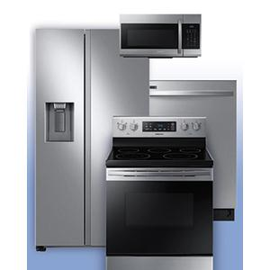 SAMSUNG - Get a Visa Reward Card for 10% off the purchase price of any Samsung 4-piece kitchen package. See Side-by-Side Refrigerator and Electric Range Example.