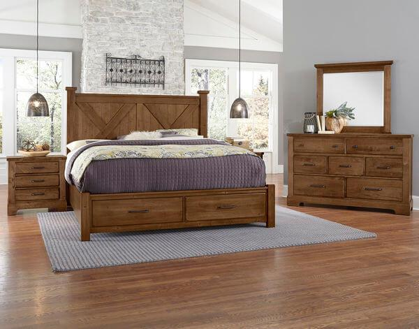 Cool Rustic Amber Finish Bed