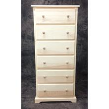 """Maine Made 6 Drawer Lingerie Chest 24""""W x 53.5""""H x 18""""D Pine Unfinished"""