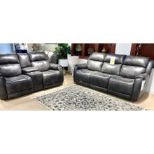 Valentino Slate Leather Full Power Reclining Sofa & Loveseat