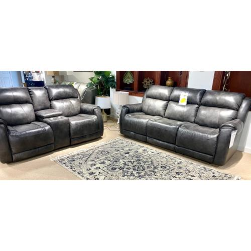 Southern Motion - Valentino Slate Leather Full Power Reclining Sofa & Loveseat