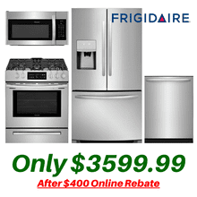 Frigidaire Stainless Steel Kitchen with Slide-in Stove and French Door Refrigerator