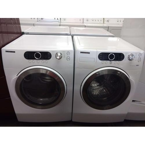 Refurbished Samsung White Front Load Washer Dryer Set  Please call store if you would like additional pictures. This set carries our 6 month warranty, MANUFACTURER WARRANTY AND REBATES ARE NOT VALID (Sold only as a set)