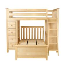 View Product - Jackpot Kensington All in One Loft Bed Storage Study Twin Bed In Natural Finish
