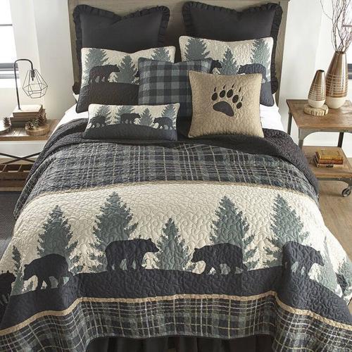 Bear Walk Plaid King Quilt Set