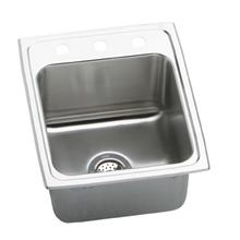 """See Details - 17"""" ELKAY Top Mount Single Bowl Stainless Steel Sink with 18-Gauge, 10-1/8"""" Bowl Depth, 20"""" Length and U-Channel Type Mounting System"""