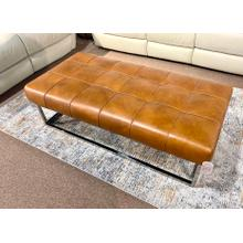 Derrick Toffee Leather Cocktail Ottoman