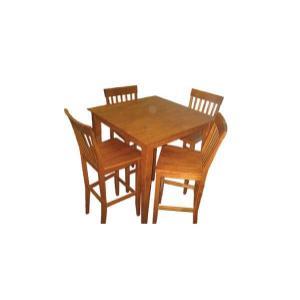 Veneer Top Square Pub Table with Solid Hardwood Stools