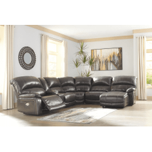 Hallstrung - Gray - 1 Power Recliner 1 Manual Recliner 1 Power Chaise Leather Sectional with Console