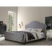 Upholstered Gray Platform Queen Bed