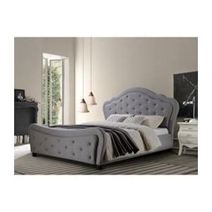 Upholstered Gray Platform Queen Bed