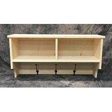 See Details - Maine Made 2 Cubby Shelf With Hooks 36 36W X 18H X 11D Pine Unfinished