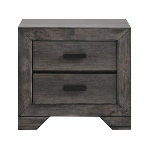 Nathan 2-Drawer Nightstand in Distressed Gray Oak Finish