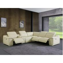 See Details - 9762 - Genuine Italian Leather - Begie 6-Piece Sectional (3 Power Reclining and Console)