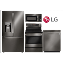LG 4-Piece Kitchen w/French Door Smart Wi-Fi Enabled Refrigerator w/Dual Ice in Black Stainless Steel