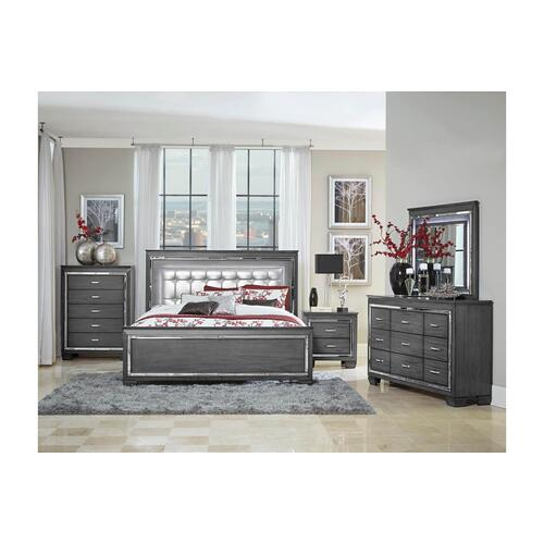 Allura- Gray Qn Bed, Dresser, Mirror and Nightstand