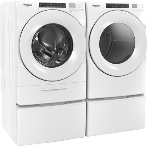 WHIRLPOOL Go Dispenser 4.5 Cu.Ft. Front Load Washer & 7.4 Cu.Ft. Electric Dryer with Pedestals
