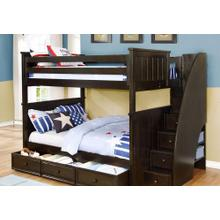 Belfort Full over Full Bunk Bed with Stairs. Includes mattress/storage Trundle - espresso