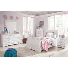 Anarasia - White - 7 Pc. - Dresser, Mirror, Chest, Nightstand & Twin Sleigh Bed