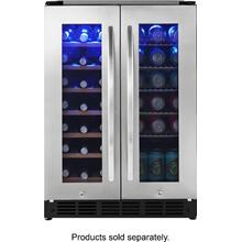 Insignia™ - 42 Bottle or 114 Can Built-in Dual Zone Wine and Beverage Cooler - Stainless steel