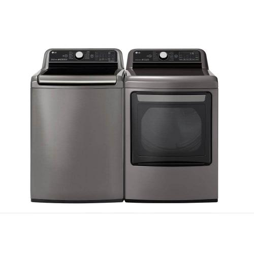 LG 5.5 cu. ft. HE Mega Capacity Smart Top Load Washer with TurboWash3D & Wi-Fi and 7.3 cu. ft. Ultra Large Smart Front Load Electric Dryer with EasyLoad Door, TurboSteam, and Wi-Fi Enabled in Graphite Steel